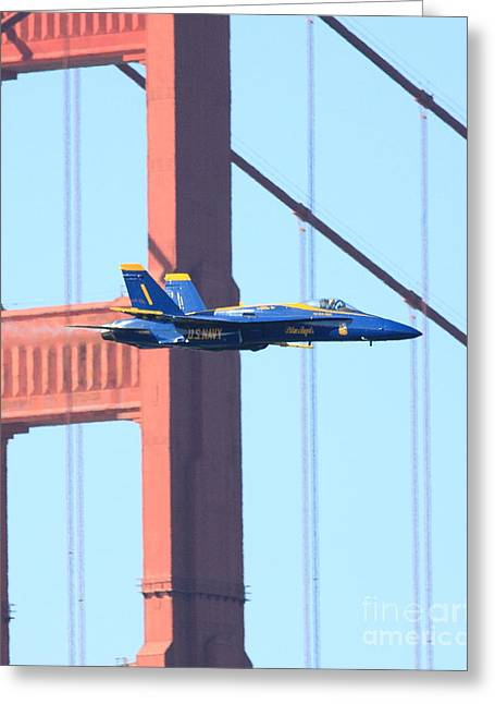 Jet Greeting Cards - Blue Angels Crossing the Golden Gate Bridge Greeting Card by Wingsdomain Art and Photography