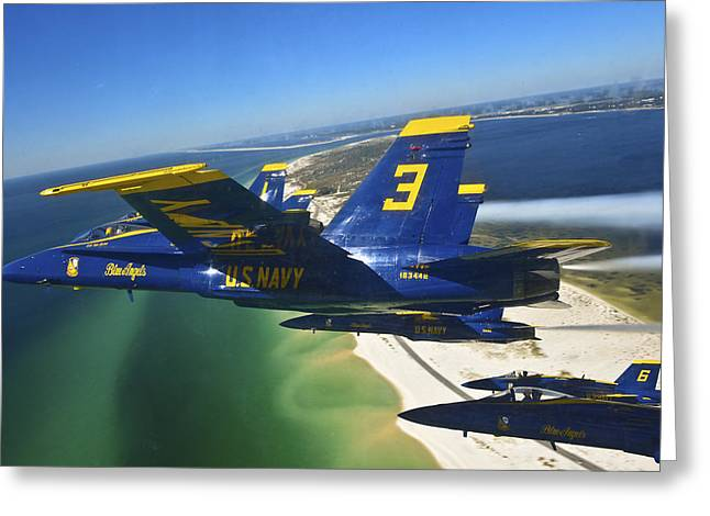 Fly In Greeting Cards - Blue Angels fly in delta formation Greeting Card by Celestial Images