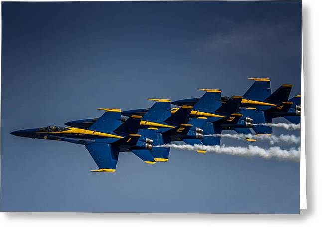 Rockford Greeting Cards - Blue Angels Formation Greeting Card by Mike Burgquist