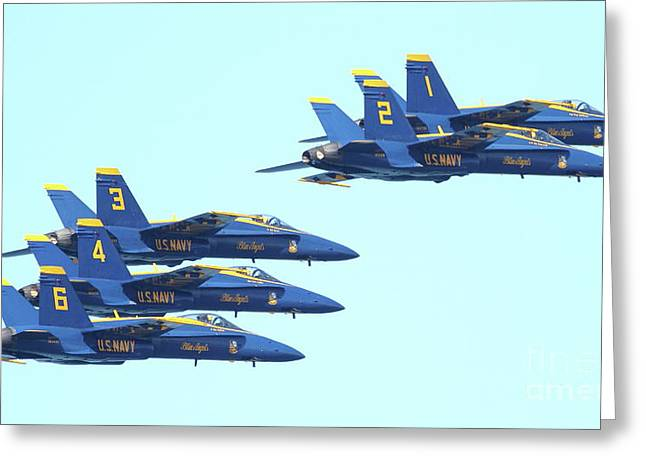Jet Greeting Cards - Blue Angels Hornet F18 Supersonic Jet Airplane . 7D2656 Greeting Card by Wingsdomain Art and Photography