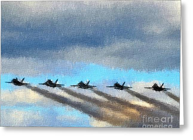 Angel Blues Greeting Cards - Blue Angels in All Their Glory oil pastel Greeting Card by Elizabeth Dow