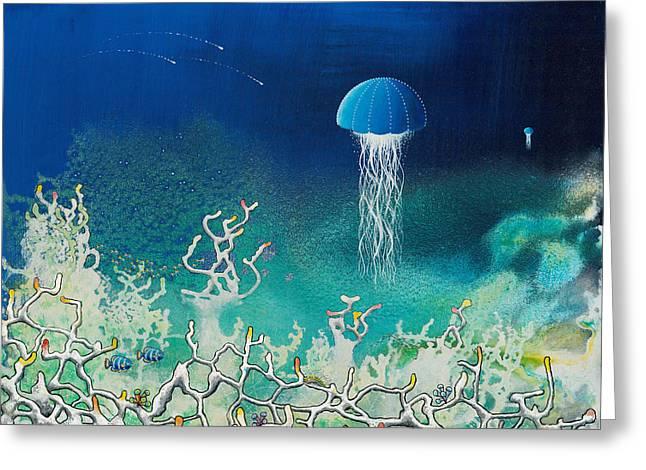 Angel Mermaids Ocean Greeting Cards - Blue Angels Greeting Card by Lee Pantas