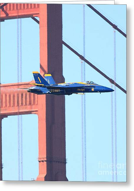 Angel Blues Greeting Cards - Blue Angels No.1 crossing the Golden Gate Bridge Greeting Card by Wingsdomain Art and Photography