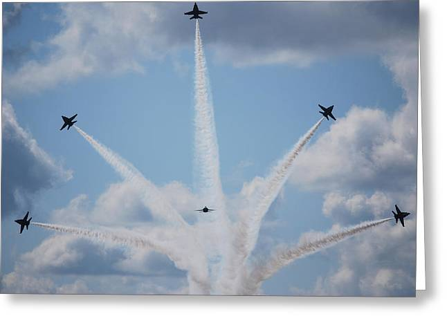 Veterans Memorial Paintings Greeting Cards - Blue Angels perform a breakaway maneuver  Greeting Card by Celestial Images