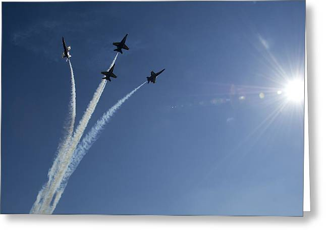 Veterans Memorial Paintings Greeting Cards - Blue Angels performs a diamond formation Greeting Card by Celestial Images