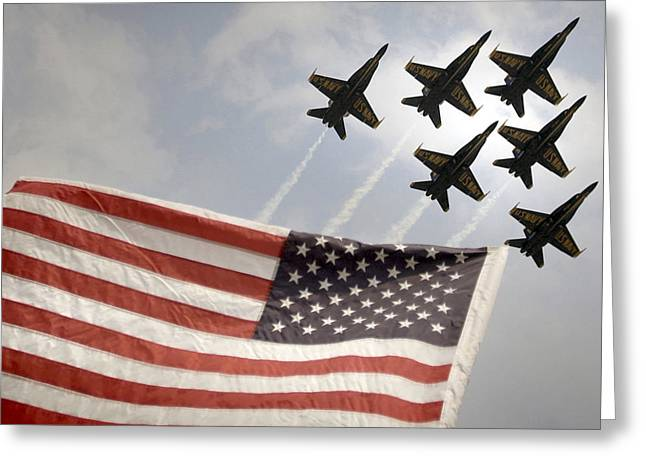 Veterans Memorial Paintings Greeting Cards - Blue Angels soars over Old Glory as they perform the Delta Formation Greeting Card by Celestial Images