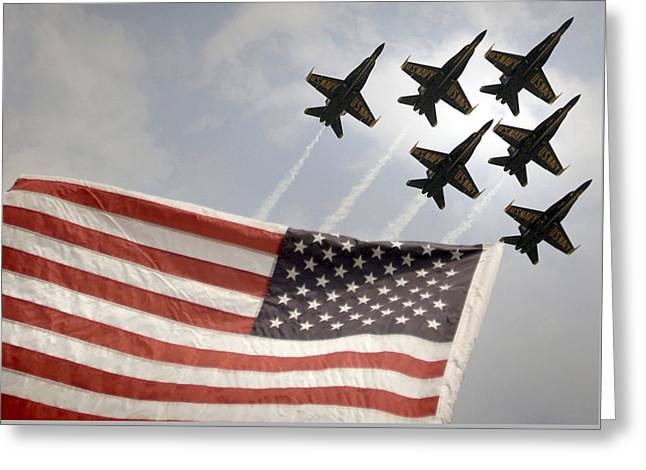 Angel Blues Greeting Cards - Blue Angels soars over Old Glory as they perform the Delta Formation Greeting Card by Celestial Images