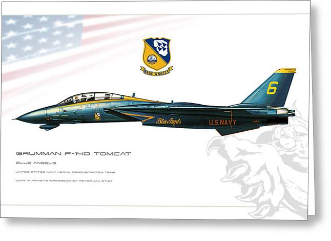 Wwi Greeting Cards - Blue Angels Tomcat Profile Greeting Card by Peter Van Stigt