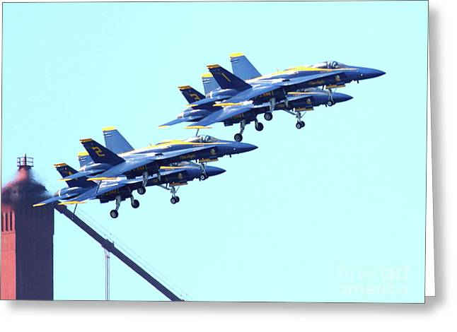 Brdige Greeting Cards - Blue Angels Traffic Jam Atop the Golden Gate Bridge Greeting Card by Wingsdomain Art and Photography