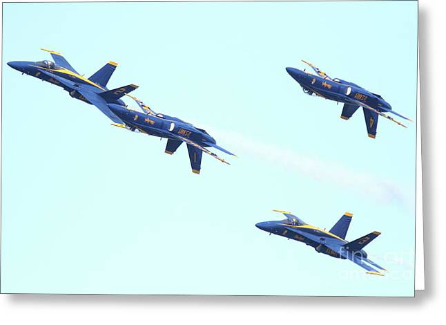 Jet Greeting Cards - Blue Angels Up is Down Greeting Card by Wingsdomain Art and Photography