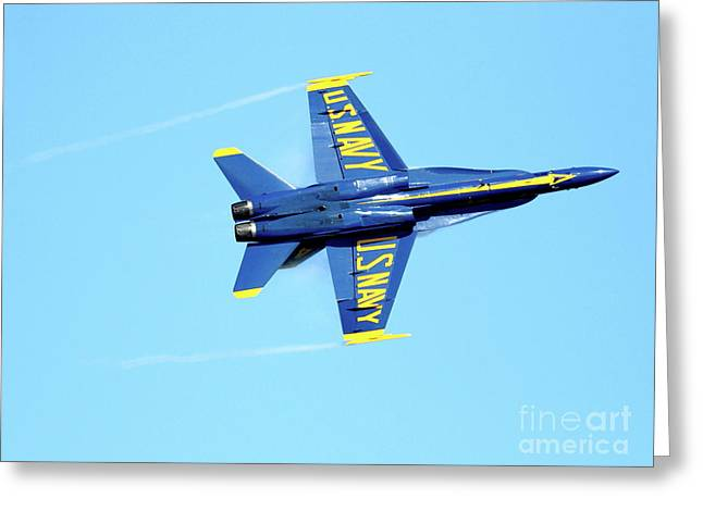 Jet Greeting Cards - Blue Angels with Wing Vapor Greeting Card by Wingsdomain Art and Photography