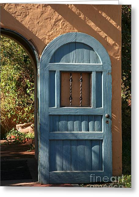 Blue Arch Door Greeting Card by Timothy Johnson