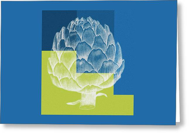 Blue Artichoke Greeting Card by Frank Tschakert