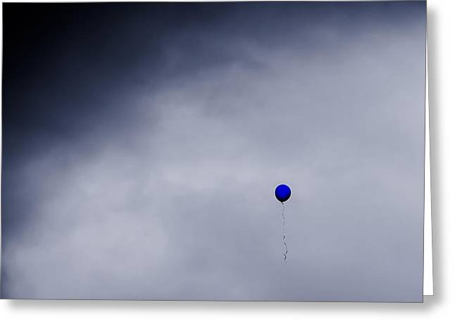 Helium Greeting Cards - Blue balloon on grey sky Greeting Card by S R Longstroth