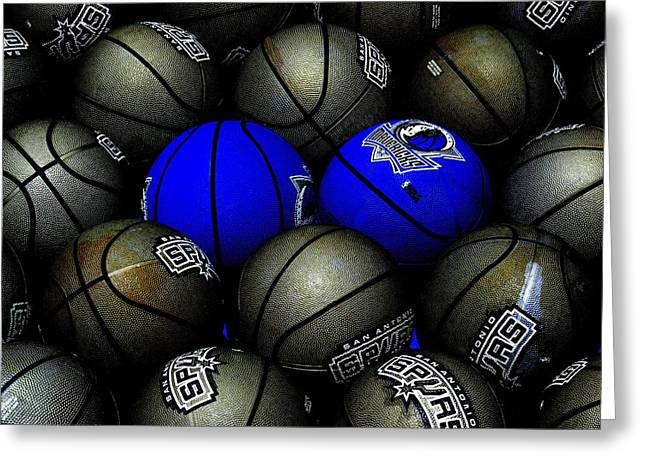 Basketballs Greeting Cards - Blue Balls Greeting Card by Ed Smith