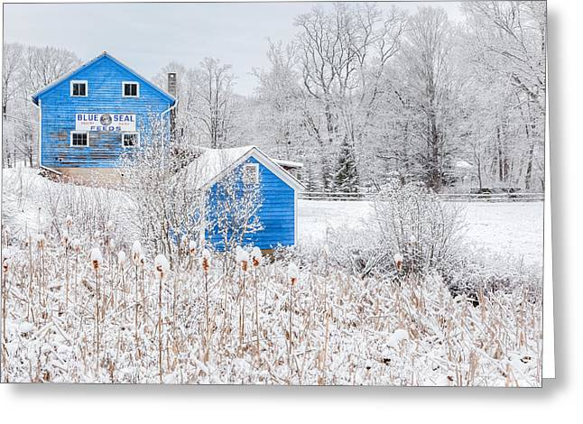 Blue Barns Greeting Card by Bill Wakeley