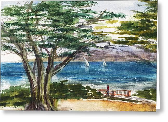 Blue Bay Seascape Greeting Card by Irina Sztukowski