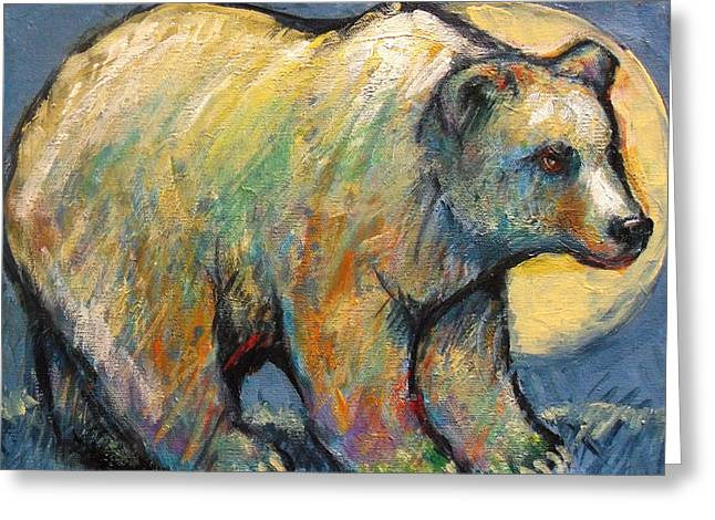 Santa Fe Greeting Cards - Blue Bear Grizzly Bear in a Full Moon Greeting Card by Carol Suzanne Niebuhr