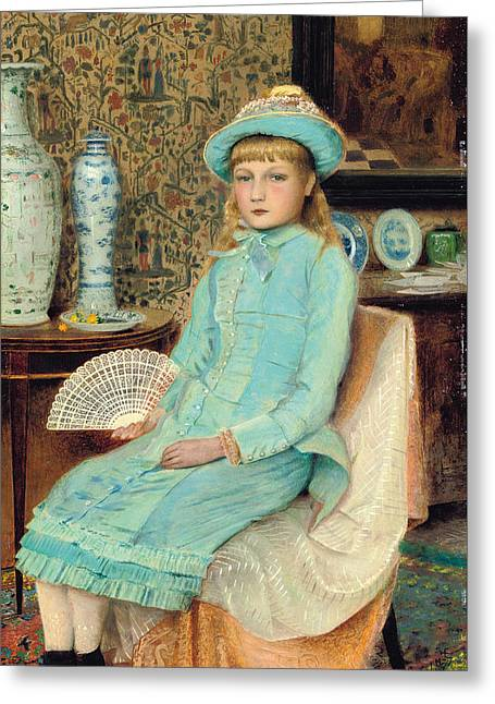 Enid Greeting Cards - Blue Belle Greeting Card by John Atkinson Grimshaw