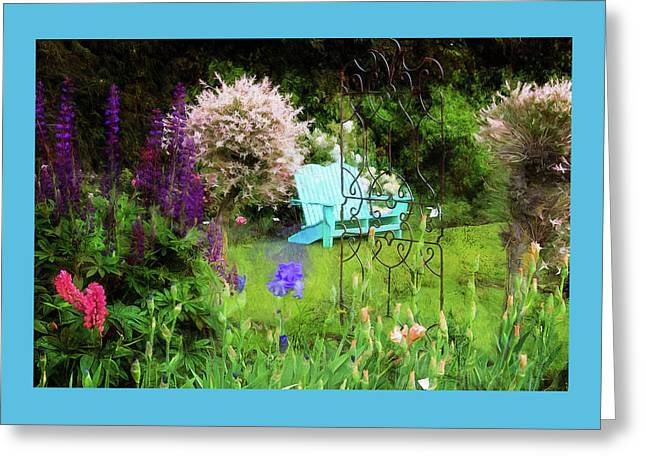 Blue Bench In The Garden Greeting Card by Thom Zehrfeld