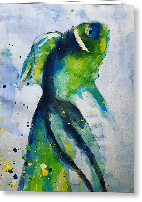 Blue Betta Fish Greeting Card by Jennifer Whitworth