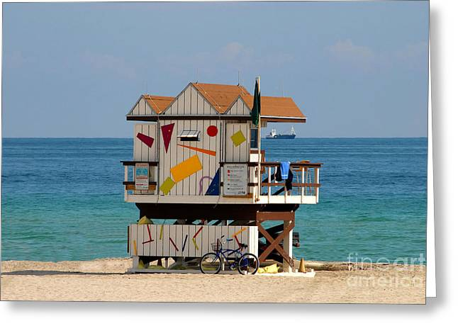 Ocean Landscape Greeting Cards - Blue Bicycle Greeting Card by David Lee Thompson