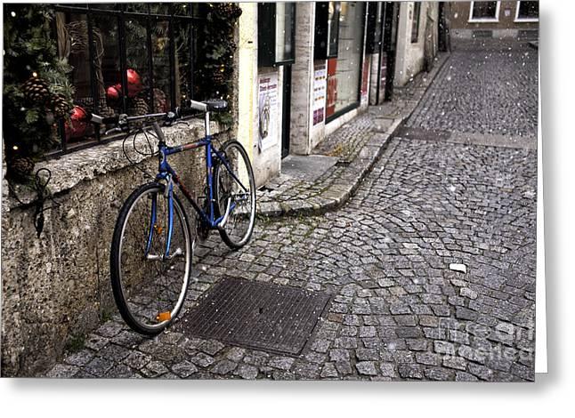 Salzburg Greeting Cards - Blue Bike in Salzburg Greeting Card by John Rizzuto