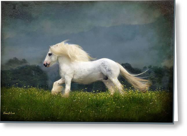 Horses Running Greeting Cards - Blue Billy C1 Greeting Card by Fran J Scott