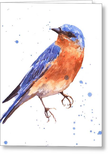 Eastern Bluebird Greeting Cards - Blue Bird blue bird painting Greeting Card by Alison Fennell