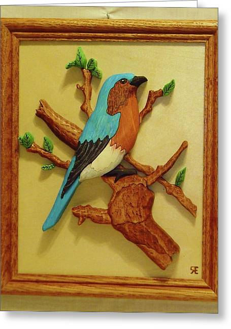 Birds Sculptures Greeting Cards - Blue-Bird  Greeting Card by Russell Ellingsworth