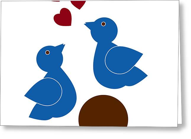 Animals Love Drawings Greeting Cards - Blue Birds Greeting Card by Frank Tschakert
