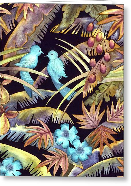Pear Tapestries - Textiles Greeting Cards - Blue Birds Greeting Card by Leslie Marcus