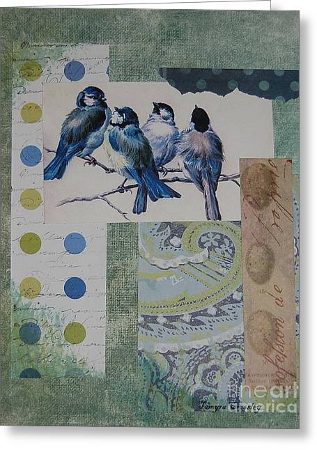 Blue Birds Greeting Card by Tamyra Crossley