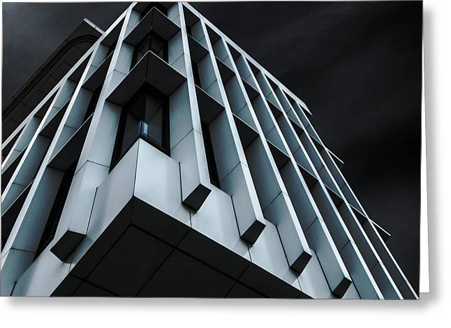 Buildings Greeting Cards - Blue Bloc Greeting Card by Gilbert Claes