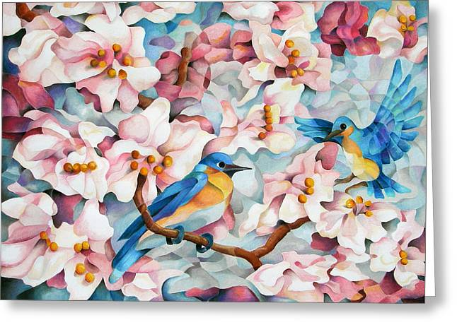 Cherry Blossoms Pastels Greeting Cards - Blue Blossoms of Happiness Greeting Card by Marilyn Callahan