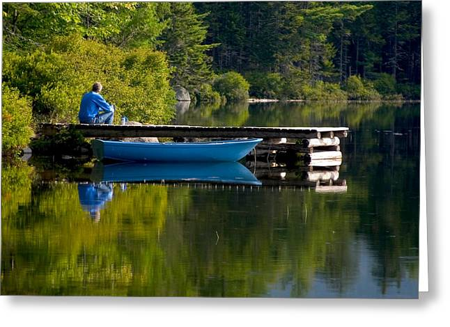 Brent L Ander Greeting Cards - Blue Boat Greeting Card by Brent L Ander