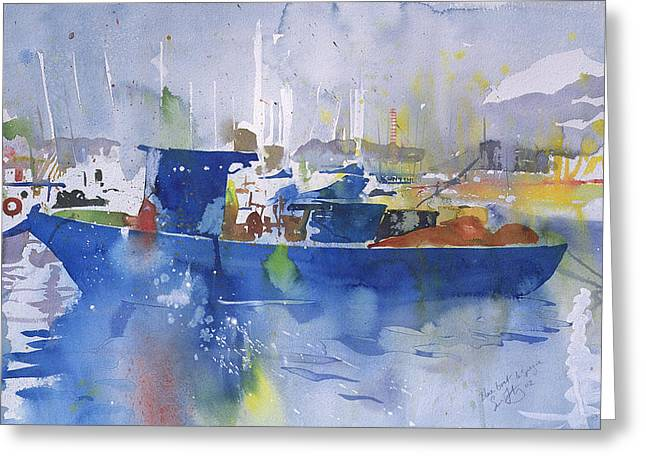 Sailboat Art Greeting Cards - Blue Boat La spezia Greeting Card by Simon Fletcher
