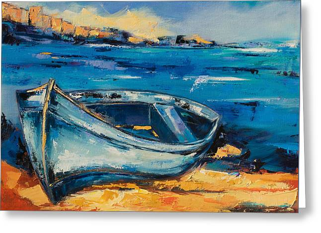 Blue Boat On The Mediterranean Beach Greeting Card by Elise Palmigiani