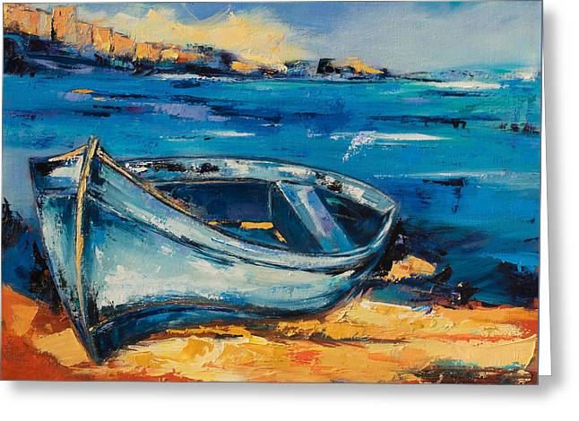 Boats On Water Greeting Cards - Blue Boat on the Mediterranean Beach Greeting Card by Elise Palmigiani