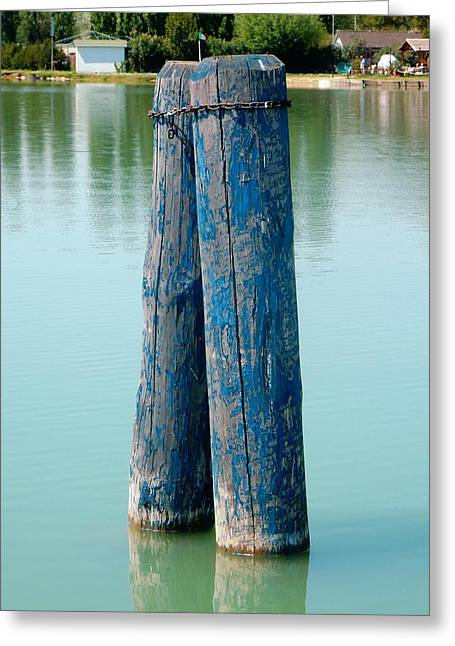 Blue Boat Piles Greeting Card by Dorothy Berry-Lound