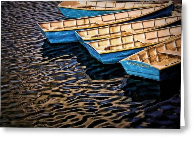 Boats At Dock Greeting Cards - Blue Boats Greeting Card by Jake Steele