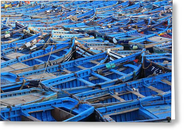 Recently Sold -  - Wooden Ship Greeting Cards - Blue Boats of Essaouira Greeting Card by Ramona Johnston