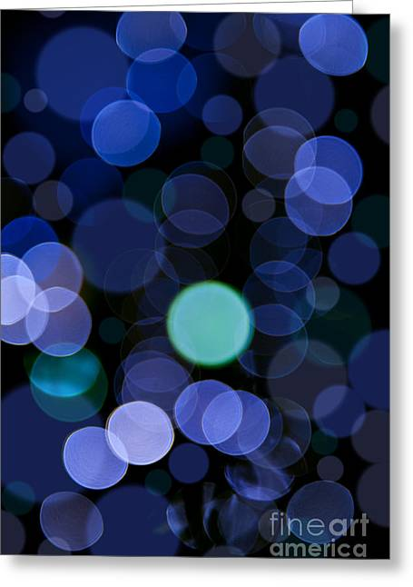 Twinkle Greeting Cards - Blue bokeh circles blurry texture Greeting Card by Arletta Cwalina