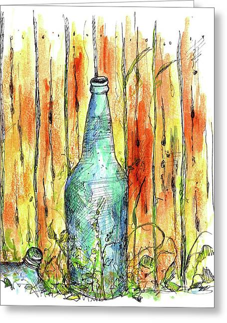 Saloons Greeting Cards - Blue Bottle Greeting Card by Cathie Richardson