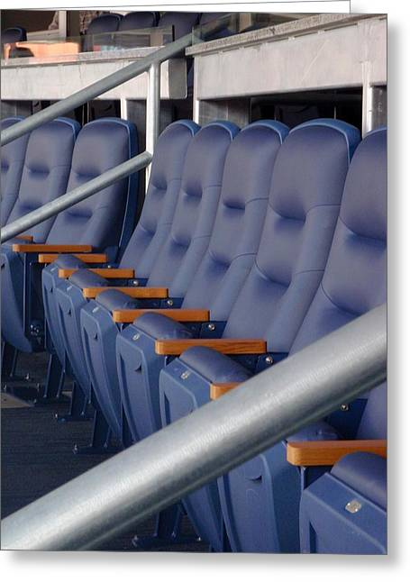 Yankee Stadium Bleachers Greeting Cards - Blue Box Seats Greeting Card by JAMART Photography
