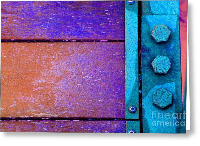 Component Greeting Cards - Blue Bridge Bolts Greeting Card by Karen Adams