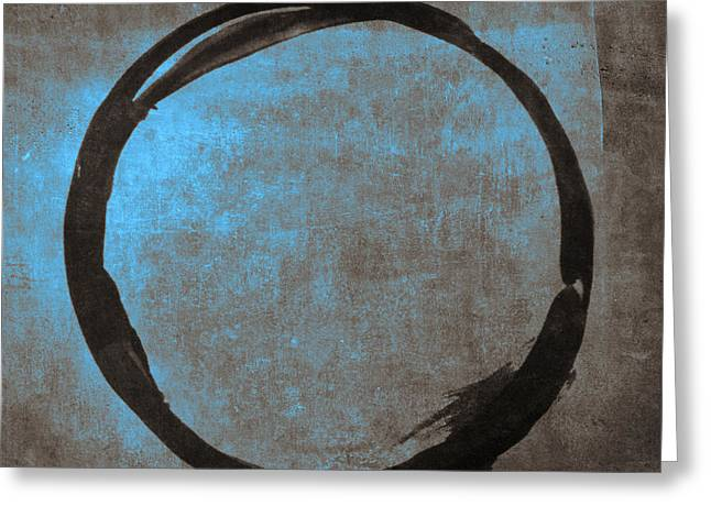 Brown Prints Greeting Cards - Blue Brown Enso Greeting Card by Julie Niemela
