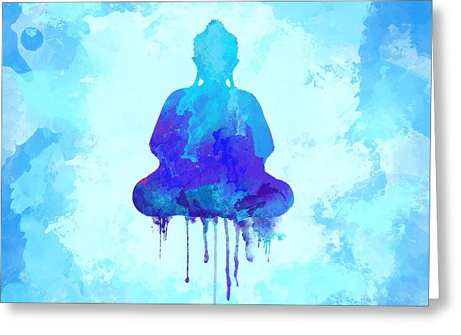 Blue Buddha Watercolor Painting Greeting Card by Thubakabra