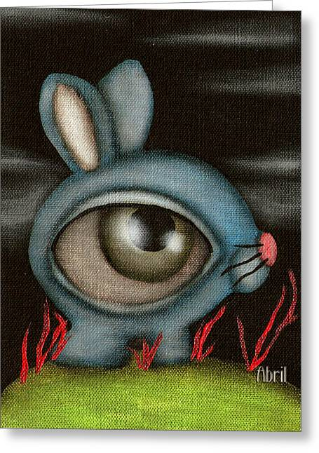 Blue Bunny Greeting Card by  Abril Andrade Griffith