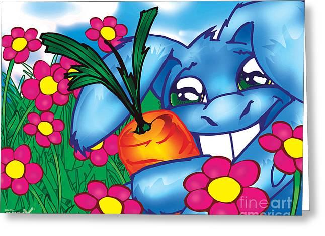 Powder Greeting Cards - Blue Bunny Greeting Card by Hanan Evyasaf